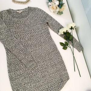 LOFT Gray Knit Sweater Dress